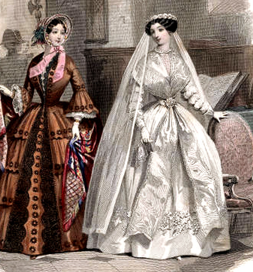 1850 Victorian Wedding Dresses And Floral Veils